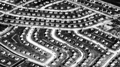 Arial view of Levittown suburbs.