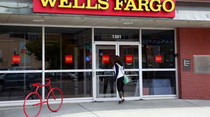 A customer enters the Wells Fargo bank branch in Golden