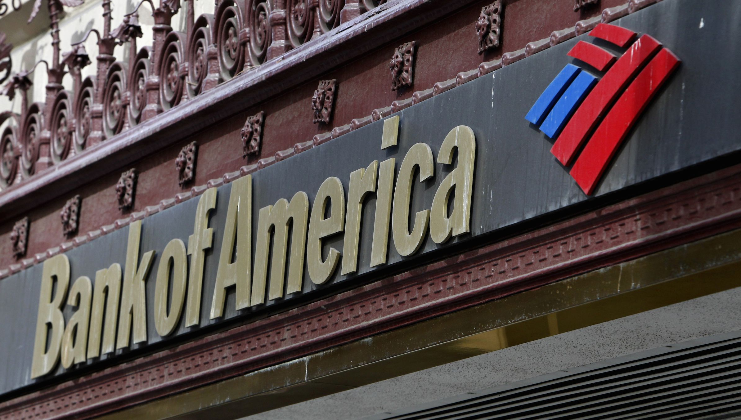 he sign of a Bank of America branch is pictured in downtown Los Angeles