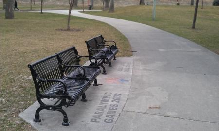 Benches with center bars to deter homeless sleepers