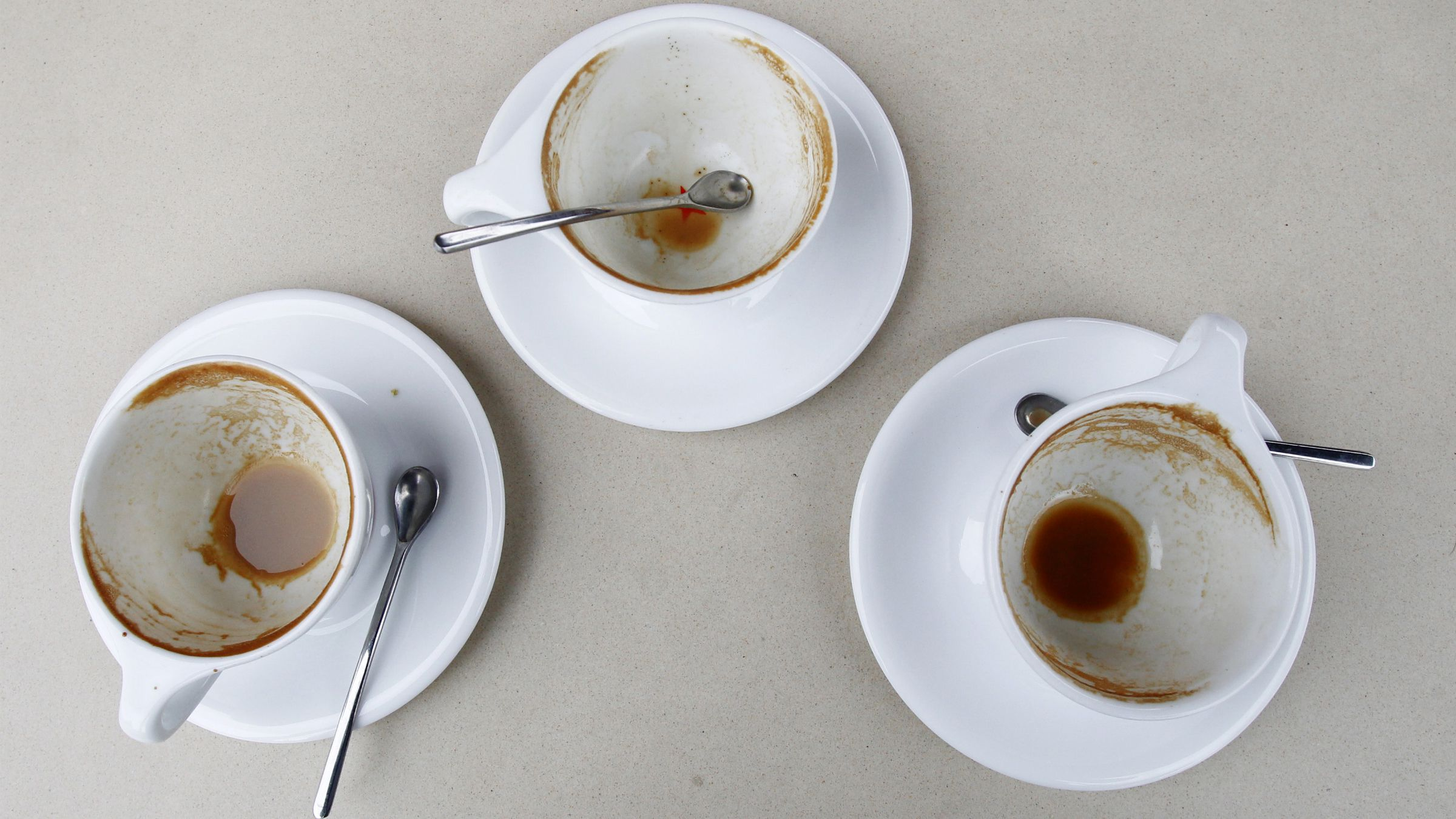 Three empty cups on a table are pictured at the Silver lake location of Intelligentsia Coffee and Tea in the Silver Lake area of Los Angeles October 19, 2010.