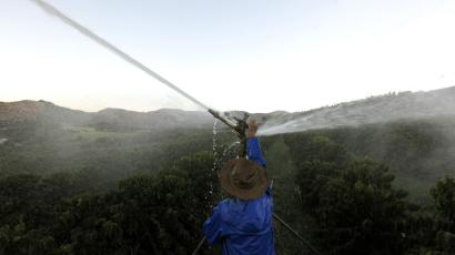 Brazil coffee producer irrigates his plants on his farm