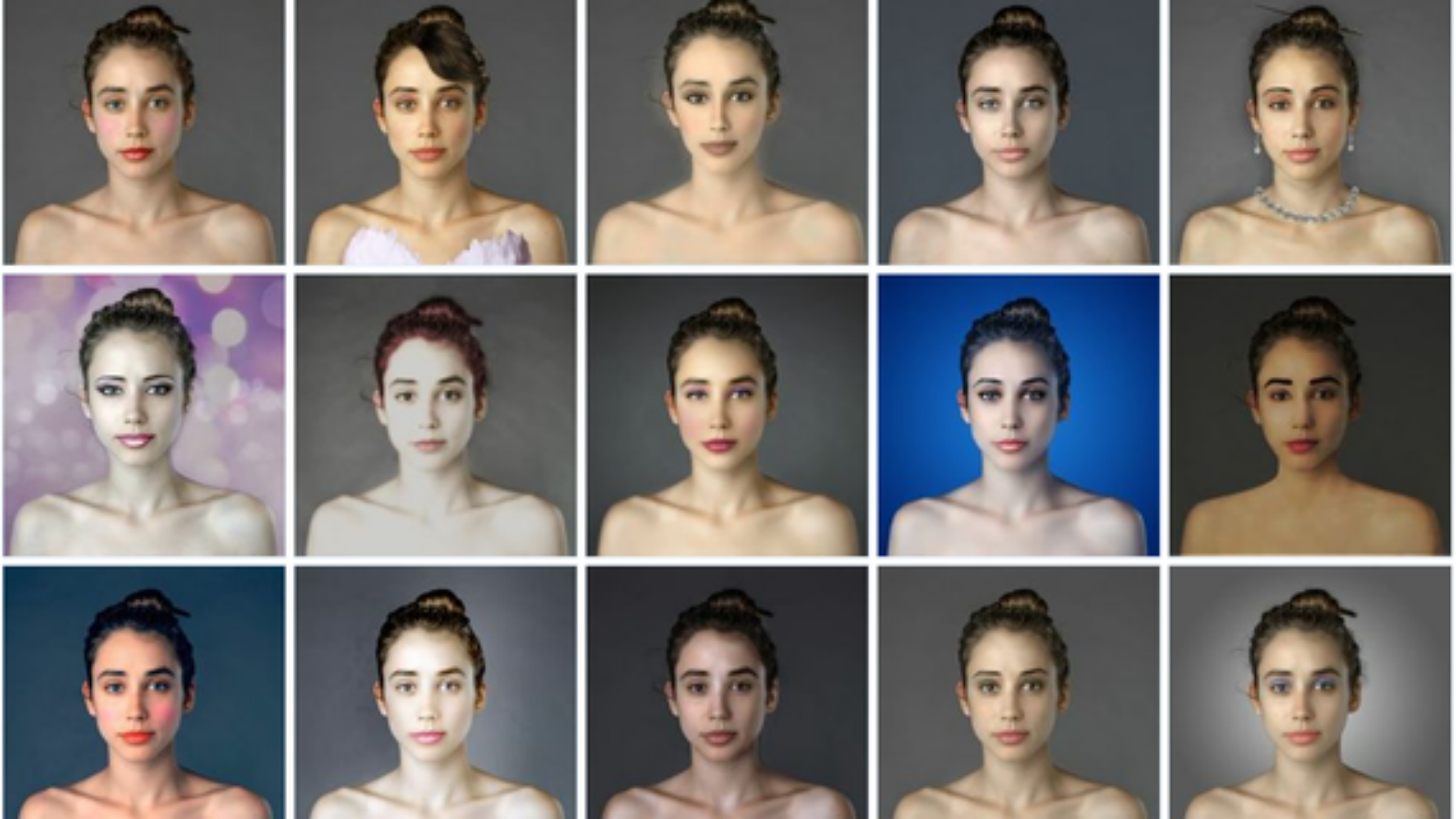 A compilation of different pictures of the same woman