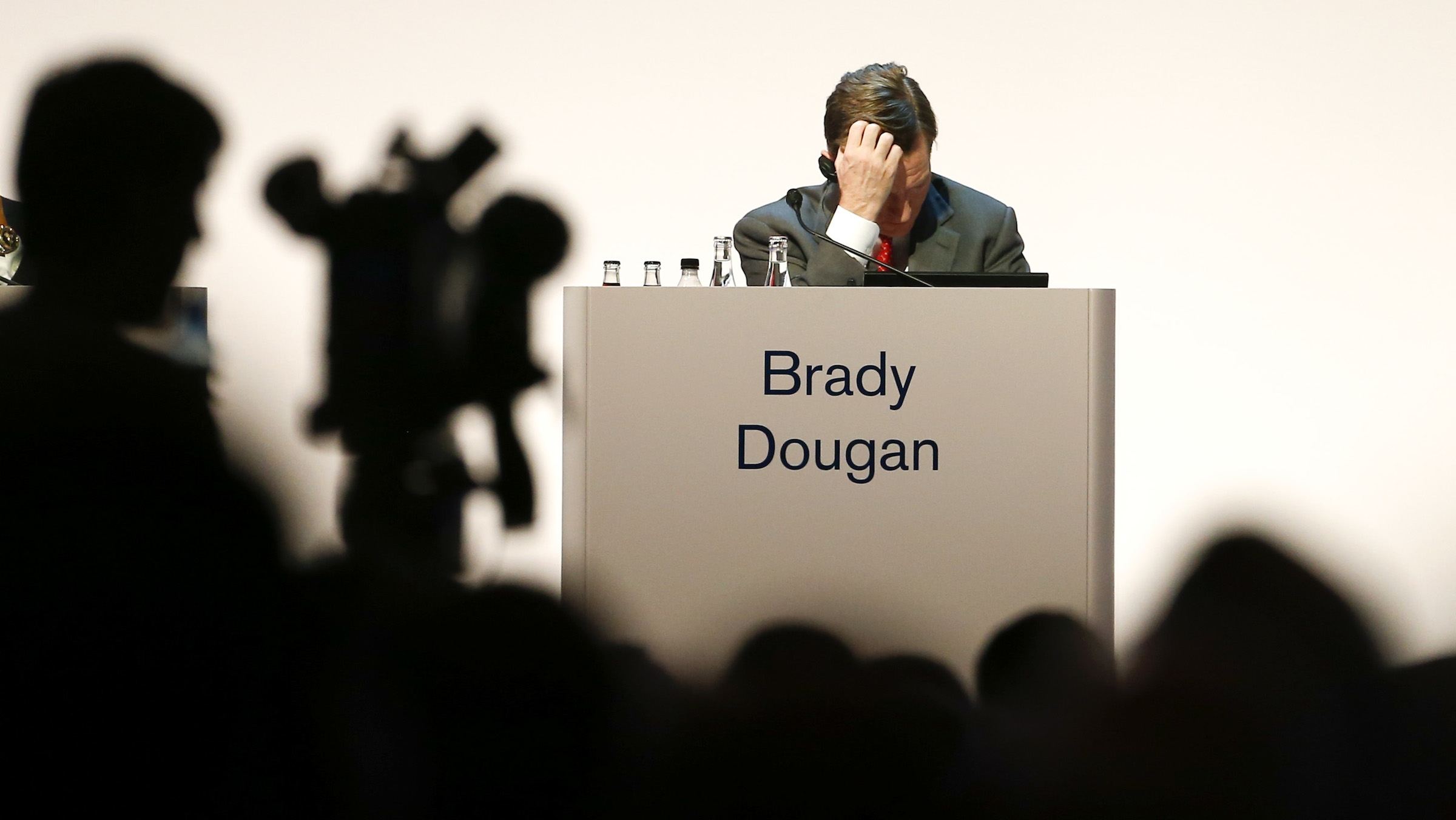 CEO Dougan Brady of Swiss bank Credit Suisse attends the company's annual shareholder meeting.