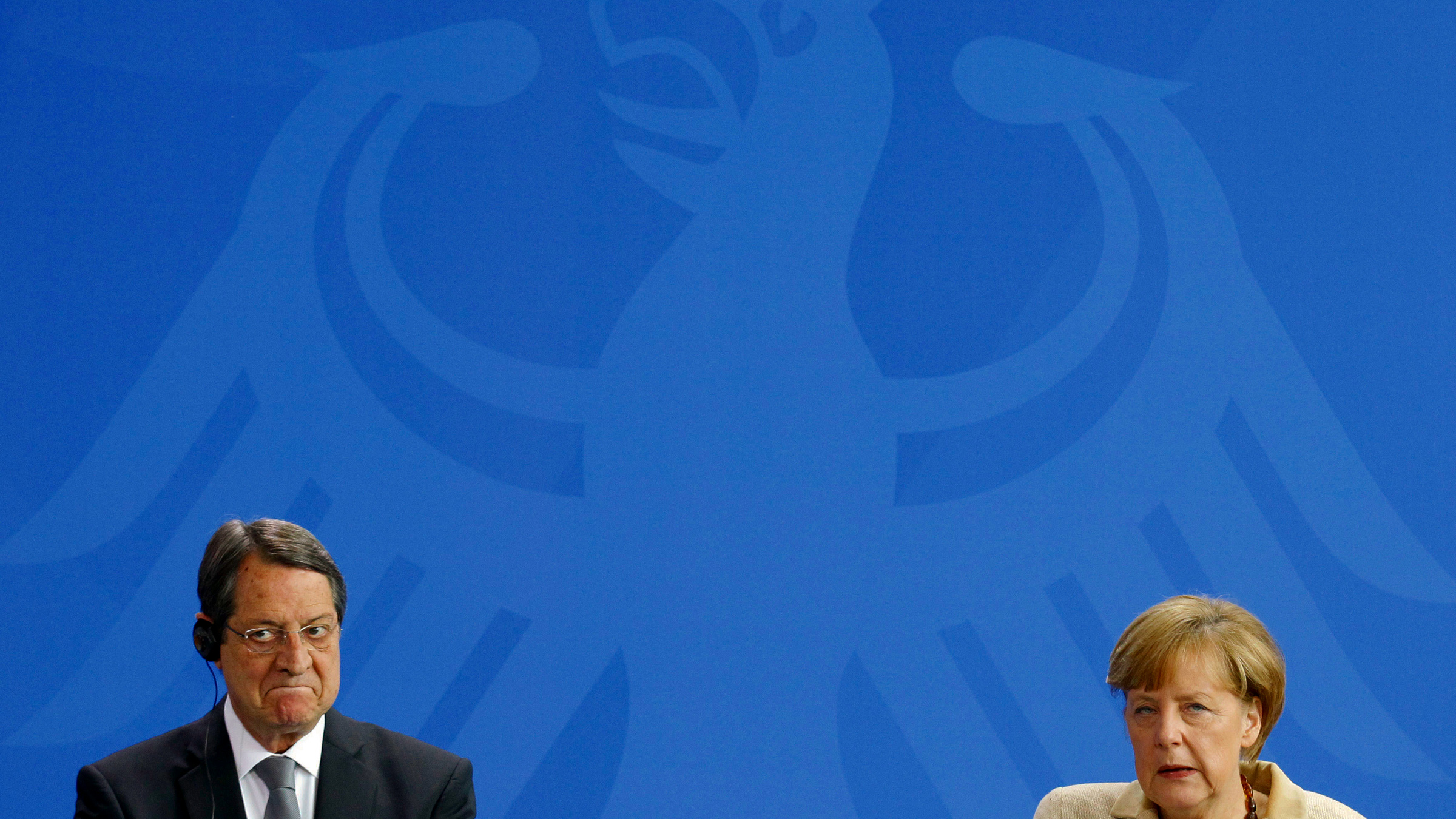 German Chancellor Angela Merkel and Cyprus' President Nikos Anastasiadis address a news conference after talks in Berlin May 6, 2014.