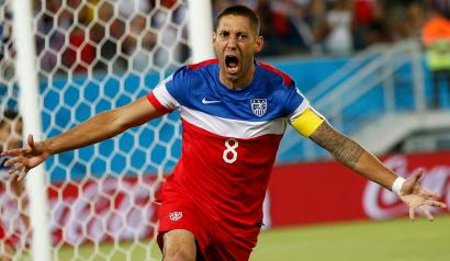 DATE IMPORTED:June 16, 2014Clint Dempsey of the U.S. celebrates after scoring their first goal during their 2014 World Cup Group G soccer match against Ghana at the Dunas arena in Natal June 16, 2014. REUTERS/Toru Hanai (BRAZIL - Tags: SOCCER SPORT WORLD CUP TPX IMAGES OF THE DAY) TOPCUP