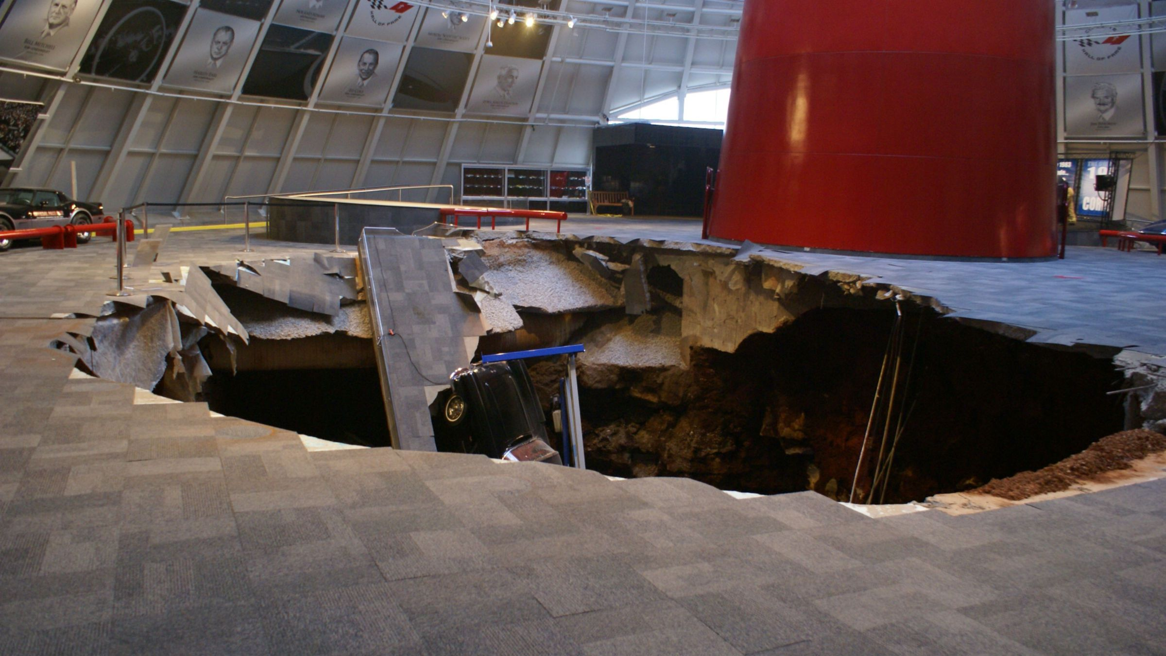 National Corvette Museum Skydome Sinkhole. 1962 Black Corvette can be seen in the sinkhole.