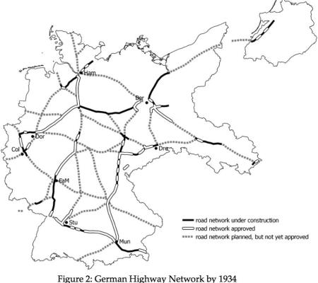 A map showing the German highway network in 1934