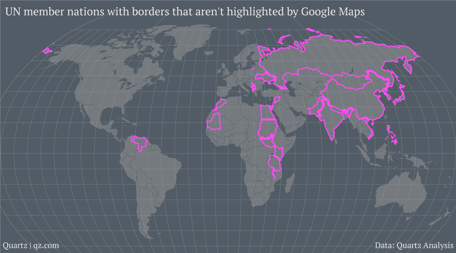 Map Of The World No Borders.Here Are The 32 Countries Google Maps Won T Draw Borders Around Quartz