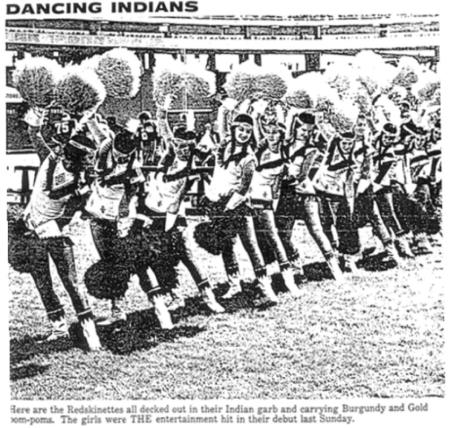 Here are the Redskinettes all decked out in their Indian garb and carrying Burgundy and Gold pom-poms.