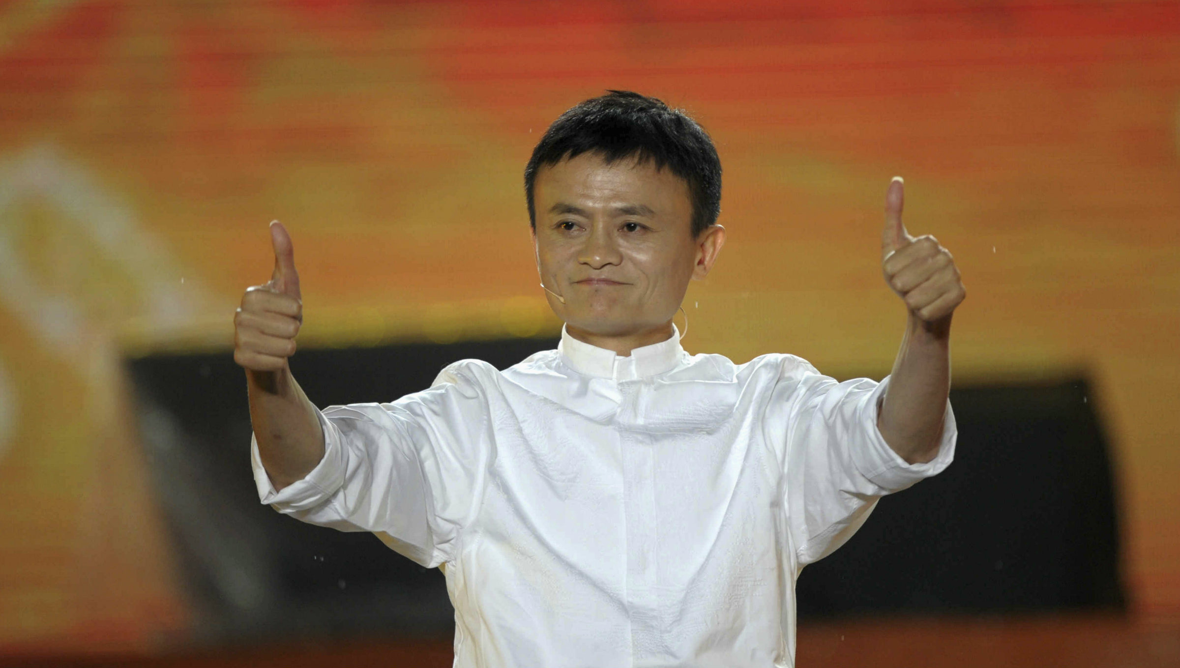 Alibaba founder Jack Ma with thumbs up.