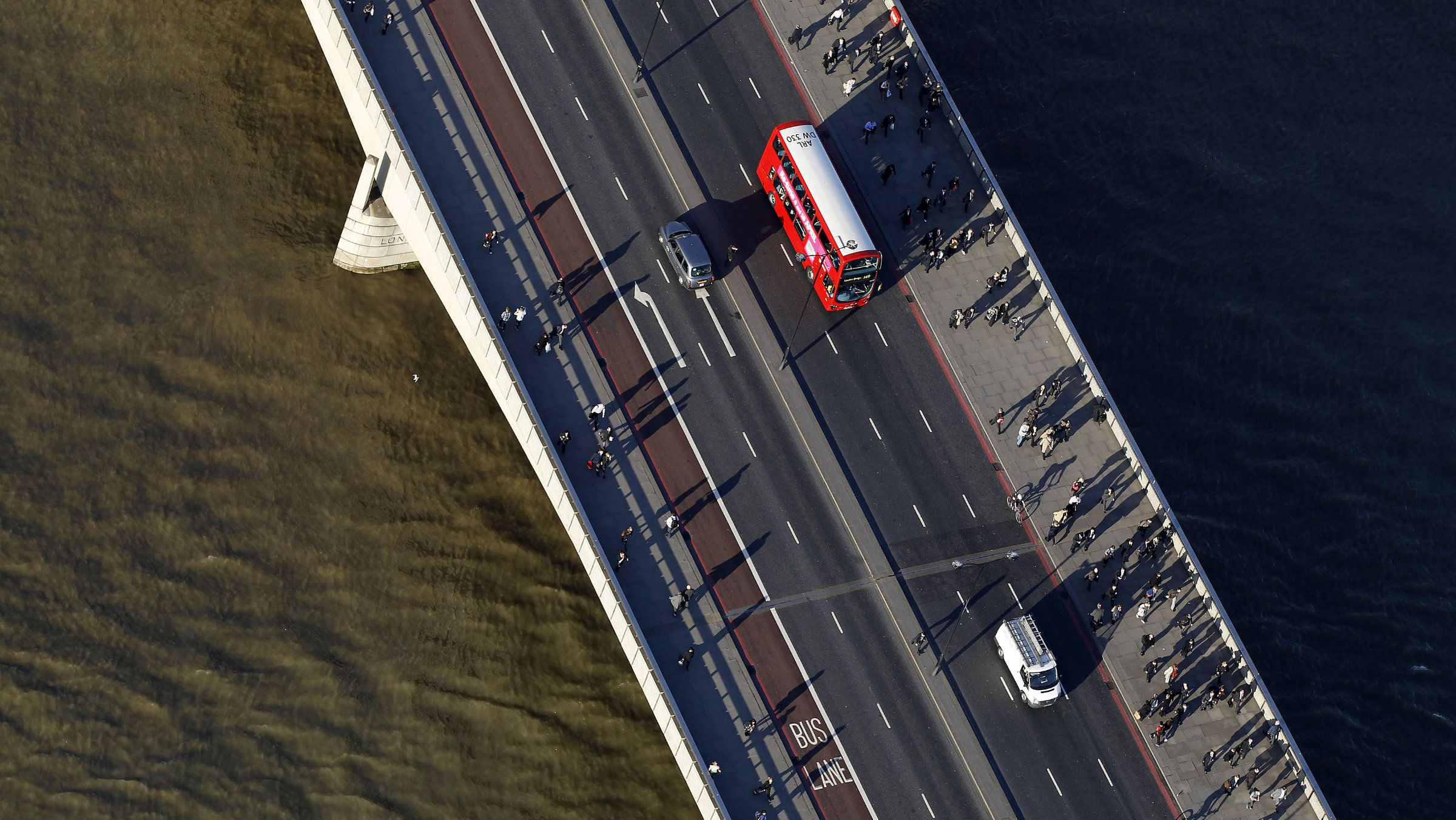 An aerial view shows a bus crossing a bridge in London, March 27, 2012.