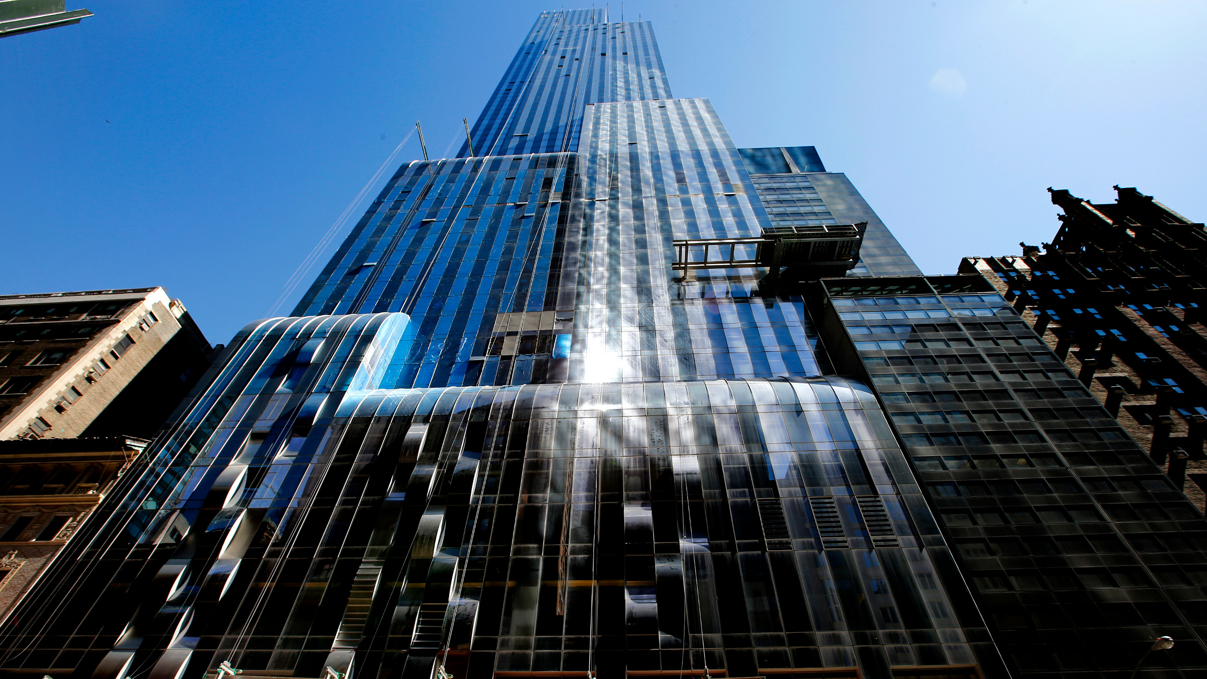 One57, a new luxury skyscraper apartment building designed by French architect Christian de Portzamparc which is under construction on New York City's West 57th street, is pictured April 24, 2014. Wealthy Chinese are pouring money into real estate in New York and some other major cities around the world, including London and Sydney, as they seek safe havens for their cash and also establish a base for their children to get an education in the West. The current in-vogue building among the Chinese is Central Park?s One57, a new skyscraper designed by Pritzker Prize-winning French architect de Portzamparc, where they can spend $18.85 million for a three-bedroom or $55 million for an apartment taking up the entire 81st floor. The building comes with all of the amenities of a five-star hotel. Picture taken April 24, 2014.