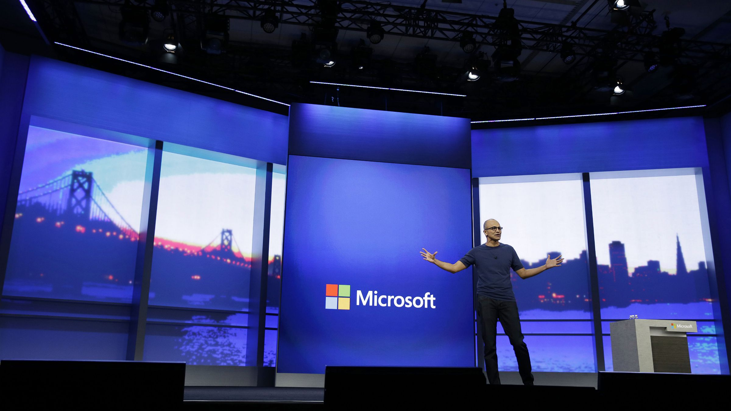 Microsoft CEO Satya Nadella gestures during the keynote address of the Build Conference Wednesday, April 2, 2014, in San Francisco.