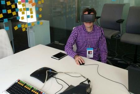 Testing a prototype of the Bloomberg terminal on Oculus Rift.