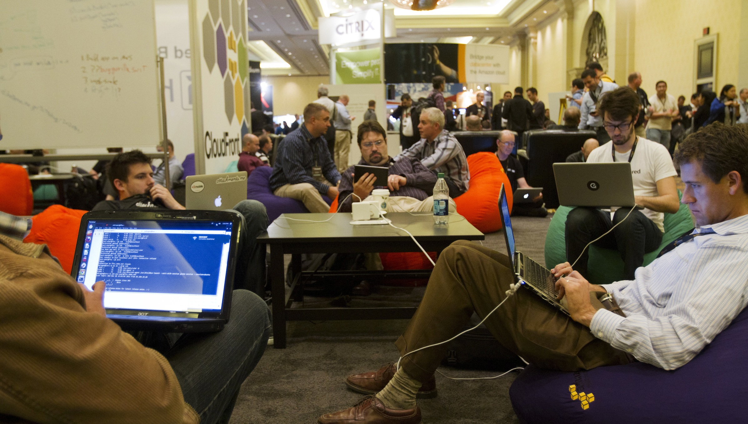 Developers and programmers participate in a coding challenge at the AWS Re:Invent conference at the Sands Expo in Las Vegas Nevada Nov. 28, 2012. REUTERS/Richard Brian(UNITED STATES - Tags: SCIENCE TECHNOLOGY BUSINESS) - RTR3B00V