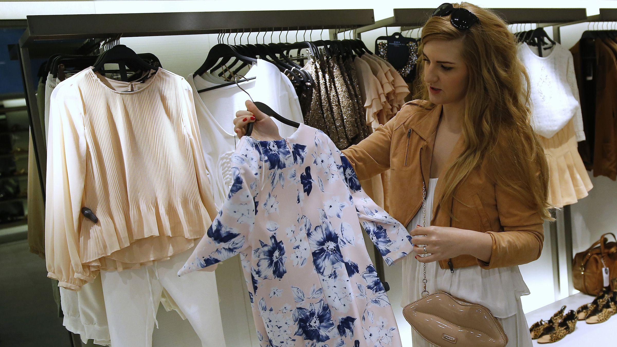 woman shopping zara store in spain