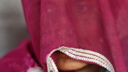 Indian woman with covered face