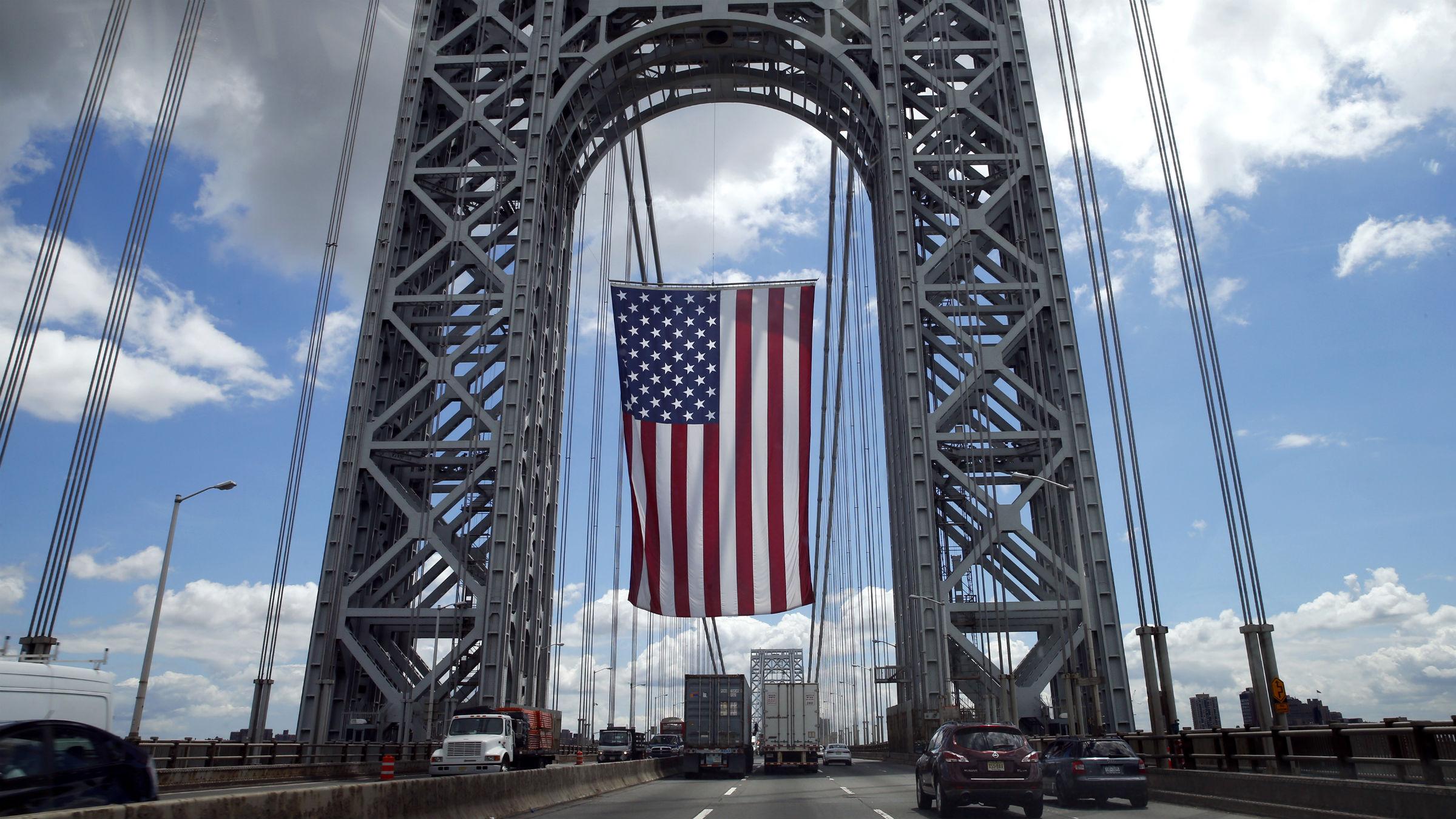 An American flag on George Washington Bridge
