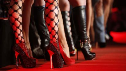 porn actresses wear fishnets and heels