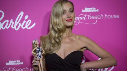 Petra Nemcova poses with a Barbie