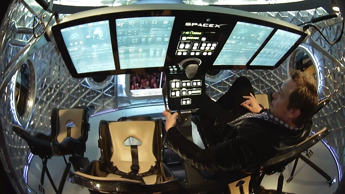 Elon Musk in the cockpit of the Dragon II.