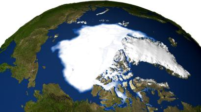 This satellite image released by NASA Wednesday Sept. 28, 2005 shows the minimum concentration of Arctic sea ice in 2005 occurring on September 21, 2005, when the sea ice extent dropped to 2.05 million sq. miles, the lowest extent yet recorded in the satellite record. New satellite observations show that sea ice in the Arctic is melting faster while air temperatures in the region are rising sharply, scientists say. Since 2002, satellite data have revealed unusually early springtime melting in areas north of Siberia and Alaska. Now the melting trend has spread throughout the Arctic, according to a national collaboration of scientists study released by the University of Colorado at Boulder's National Snow and Ice Data Center statement released Wednesday Sept. 28, 2005. (AP Photo/NASA