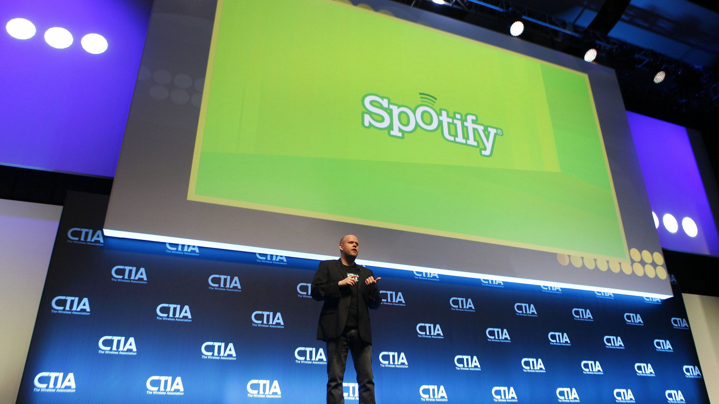 Daniel Ek, CEO & Co-Founder of Spotify, addresses attendees during the International CTIA WIRELESS Conference & Exposition in New Orleans, Louisiana May 9, 2012. REUTERS/Sean Gardner (UNITED STATES - Tags: SCIENCE TECHNOLOGY BUSINESS MEDIA TELECOMS) - RTR31TM0