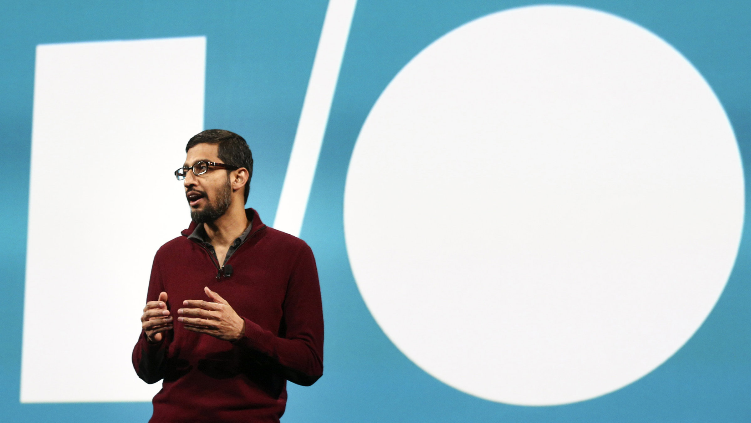 Sundar Pichai, Google's senior vice president of Android, Chrome and Apps, speaks during his keynote address at the Google I/O developers conference in San Francisco.