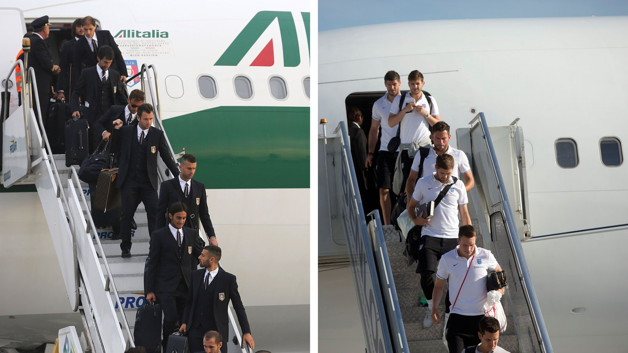 england and italy world cup teams arrive in brazil