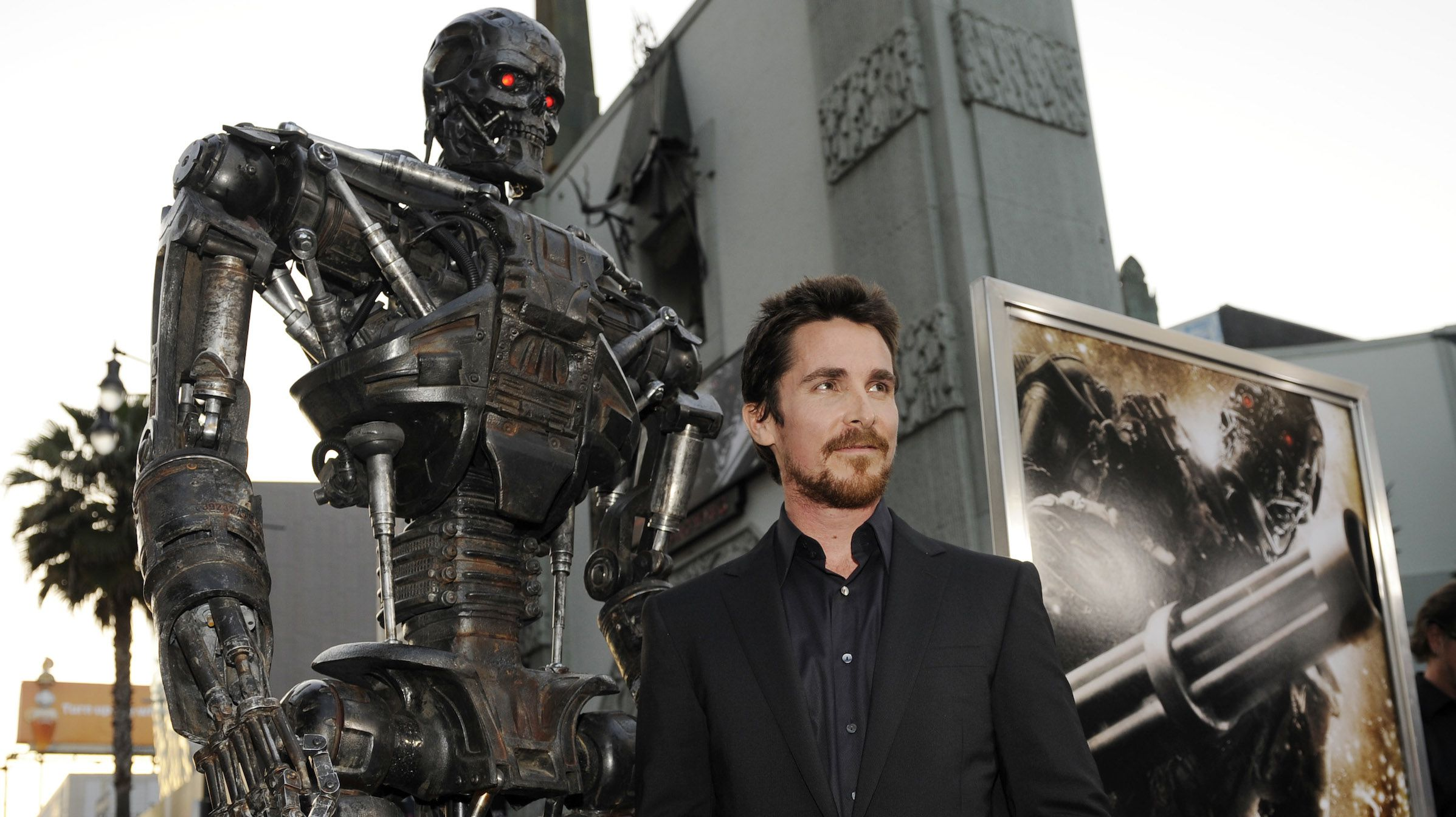 "Christian Bale, star of ""Terminator Salvation,"" poses at the premiere of the film in Los Angeles, Thursday, May 14, 2009. (AP Photo/Chris Pizze"