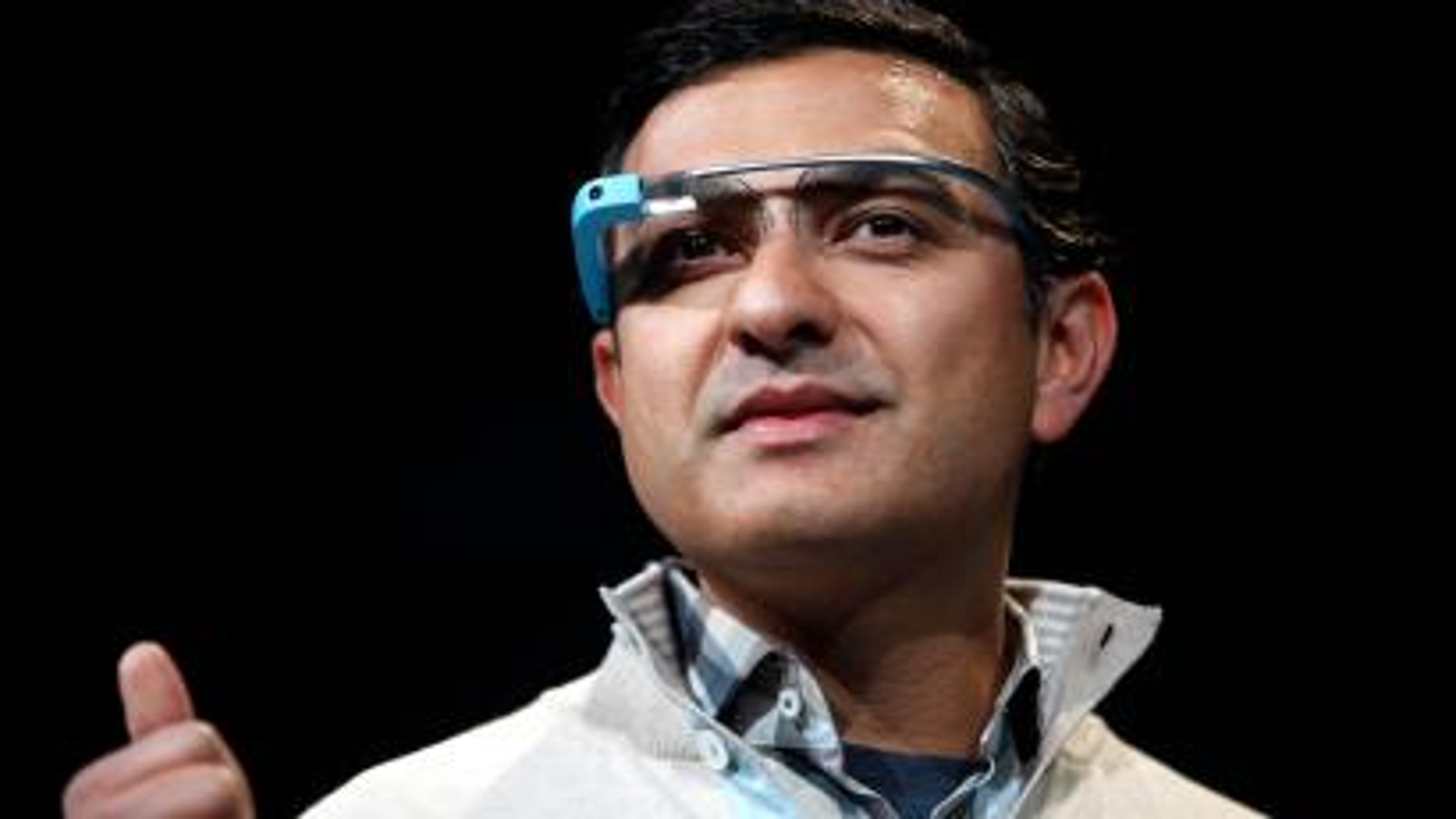 Vic Gundotra, Senior Vice President of Google, wears a Google Glass during a keynote at Google I/O Conference at Moscone Center in San Francisco, California June 28, 2012.