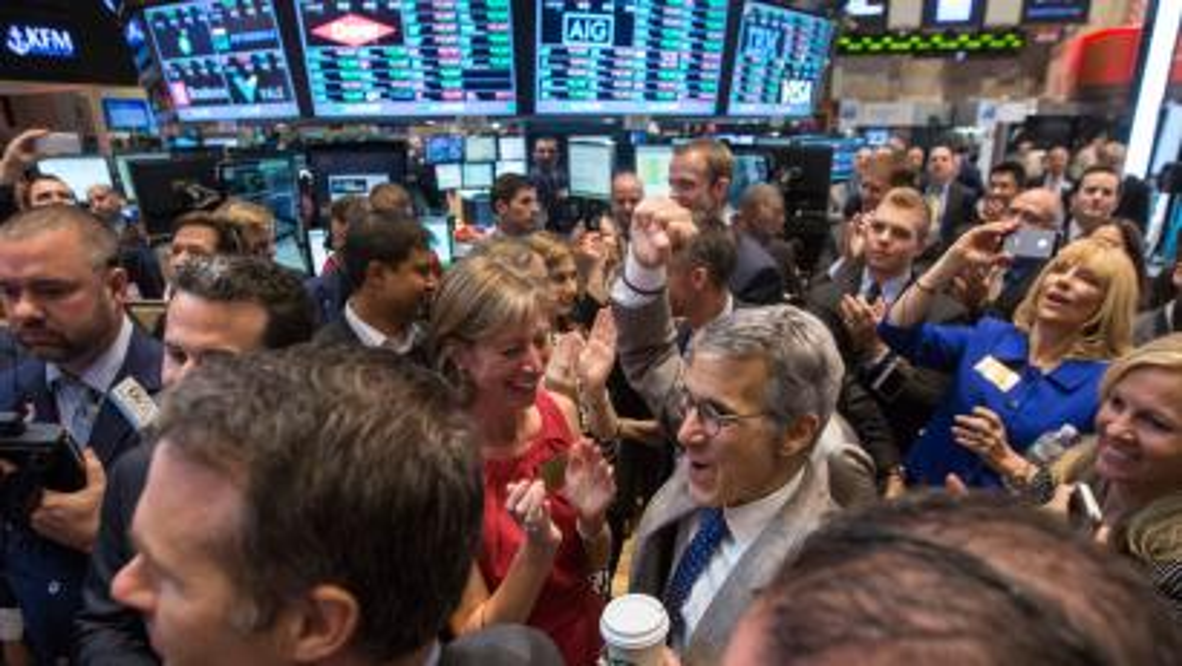 Castlight Health Inc. CEO Giovanni Colella celebrates his company's IPO on the floor of the New York Stock Exchange
