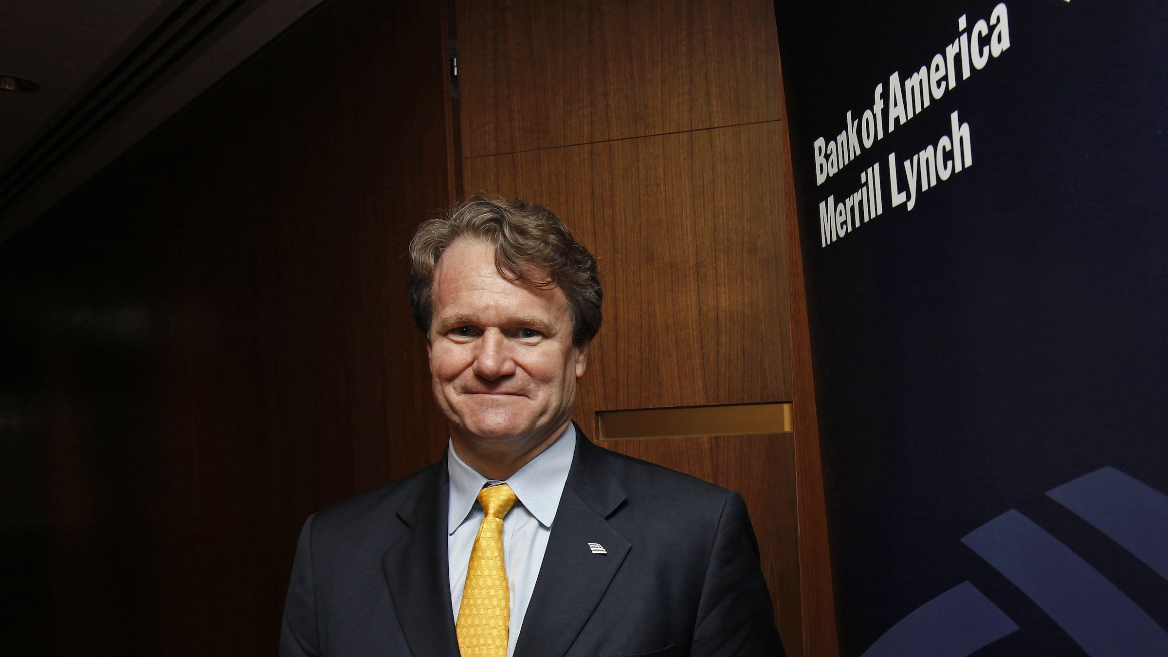 Bank of America Chief Executive Brian Moynihan poses during an interview in Hong Kong March 8, 2013. Bank of America Corp will seek more lending and cash management business with companies in Asia and elsewhere outside its U.S. home turf, Moynihan said, an area ripe for expansion where it lags its big rivals. To match Interview BOFA-MOYNIHAN/ REUTERS/Bobby Yip (CHINA - Tags: BUSINESS HEADSHOT) - RTR3EQ35