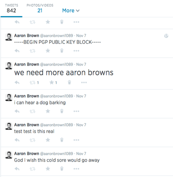 Aaron Brown Twitter feed