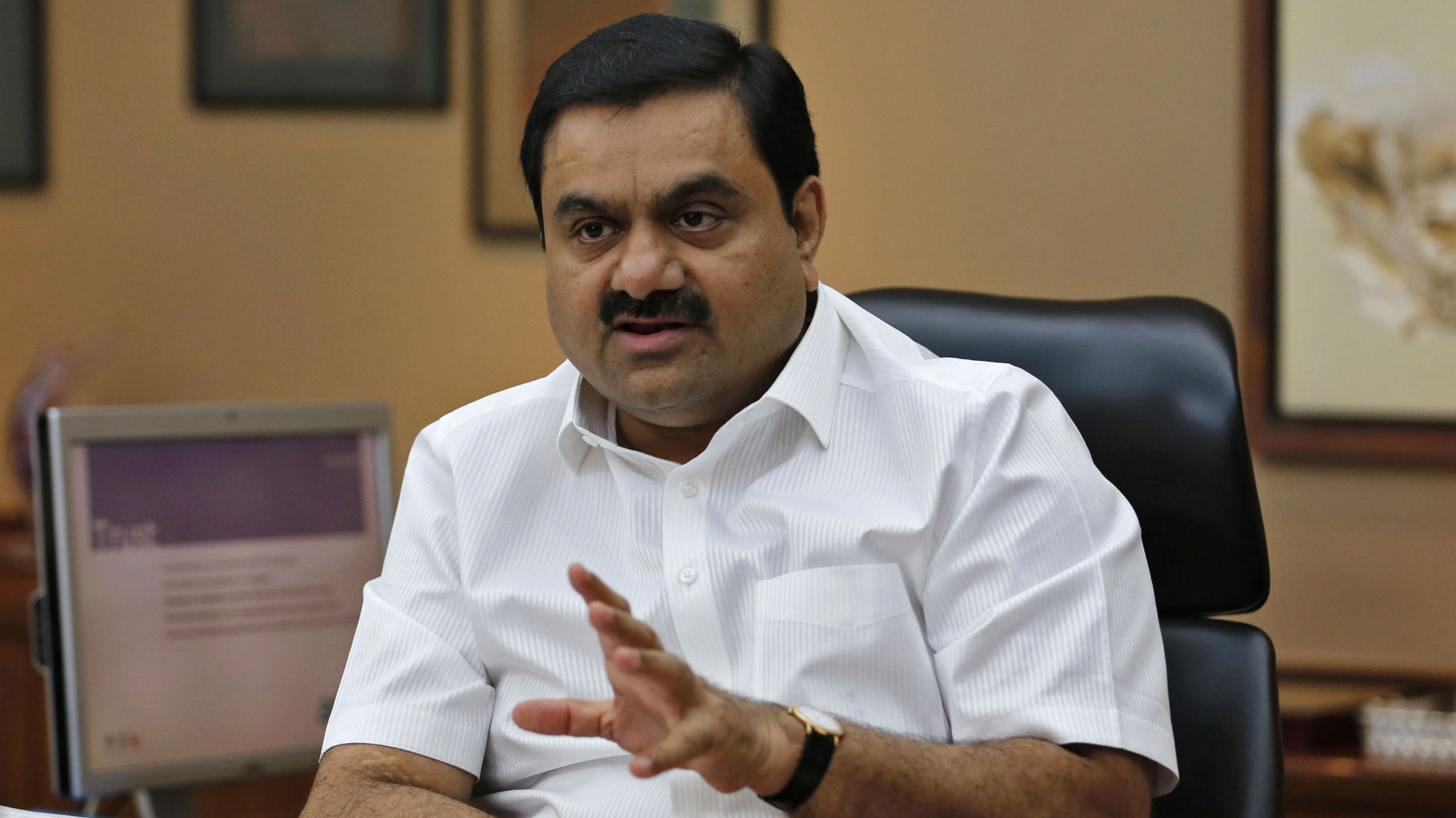 Indian billionaire Gautam Adani speaks during an interview with Reuters at his office in the western Indian city of Ahmedabad April 2, 2014. The way billionaire Indian infrastructure-builder Adani sees it, working with the government does not make him a crony-capitalist. Adani's rapid ascent to the top tier of Indian business is often associated with the rise of Narendra Modi, the Hindu nationalist opposition leader widely expected to become India's next prime minister once the country's election ends next month. Its flagship Adani Enterprises soared 22.9 percent for its biggest daily gain on Thursday and has nearly doubled since the start of February, compared with a nearly 20 percent gain in the infrastructure index.The way billionaire Indian infrastructure-builder Gautam Adani sees it, working with the government does not make him a crony-capitalist. Adani's rapid ascent to the top tier of Indian business is often associated with the rise of Narendra Modi, the Hindu nationalist opposition leader widely expected to become India's next prime minister once the country's election ends next month. Its flagship Adani Enterprises soared 22.9 percent for its biggest daily gain on Thursday and has nearly doubled since the start of February, compared with a nearly 20 percent gain in the infrastructure index. Picture taken April 2, 2014.