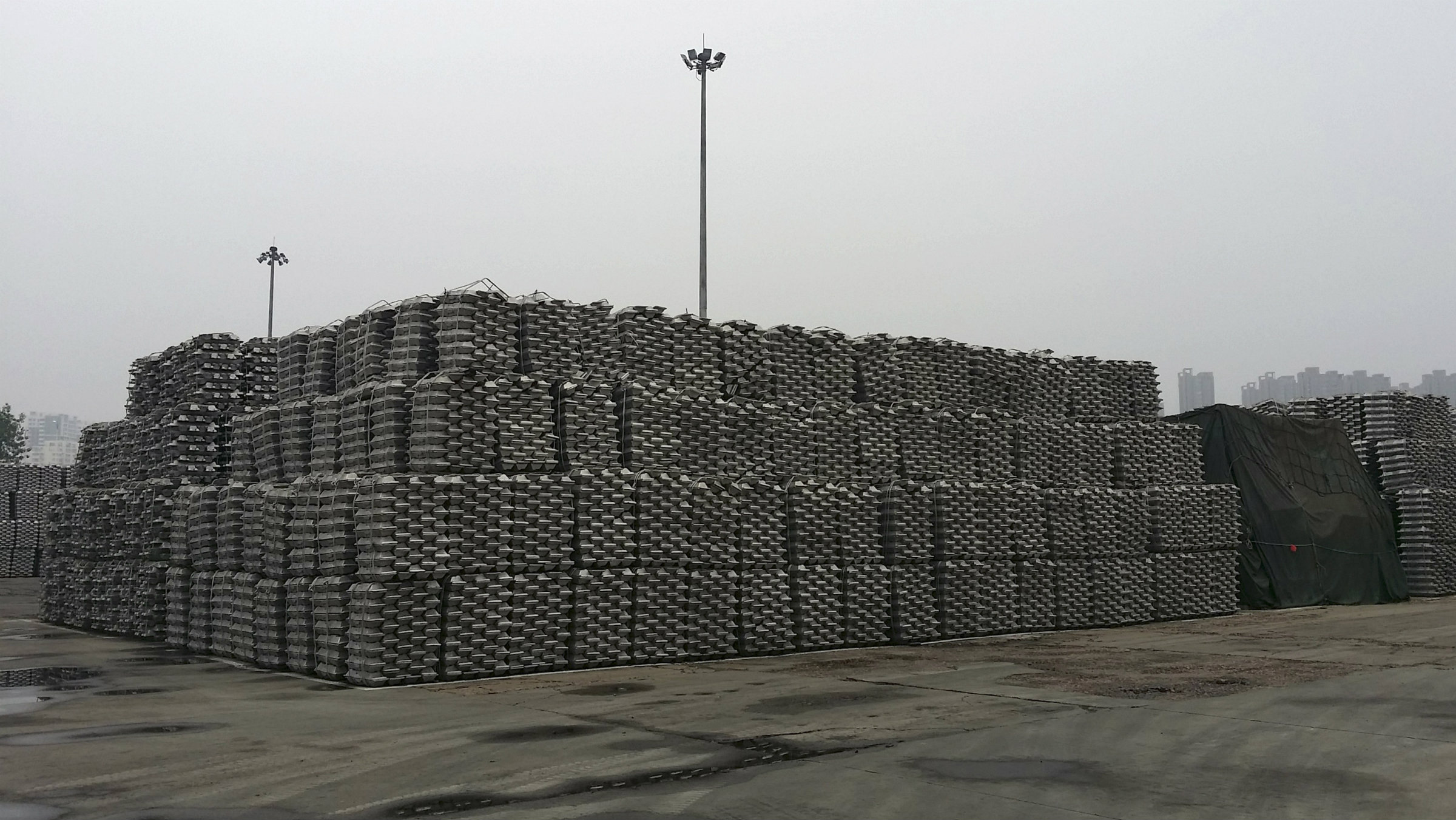 Aluminum is stockpiled in Qingdao, China's third-largest port.