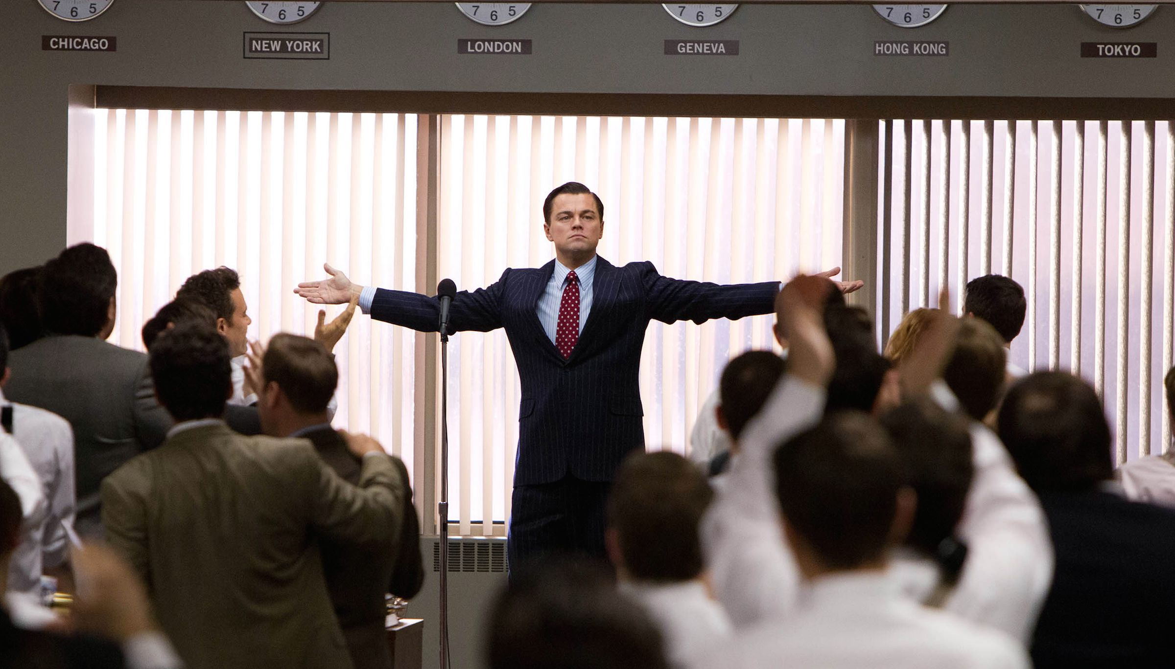 "FILE - This file film image released by Paramount Pictures shows Leonardo DiCaprio as Jordan Belfort in a scene from ""The Wolf of Wall Street."" Moviegoers in Dubai say they were disappointed by Martin Scorsese and Leonardo DiCaprio's latest film, ""The Wolf of Wall Street,"" but not because the film had gone ""too far"" in its excesses, but because it hadn't gone far enough.(AP Photo/Paramount Pictures, Mary Cybulski, File)"