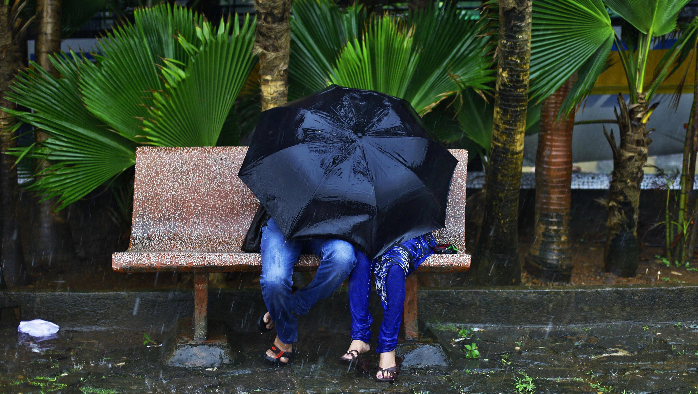 A couple sitting on a wayside bench protect themselves with an umbrella during monsoon rain in Mumbai, India, Wednesday, July 10, 2013.(AP Photo/Rafiq Maqbool)