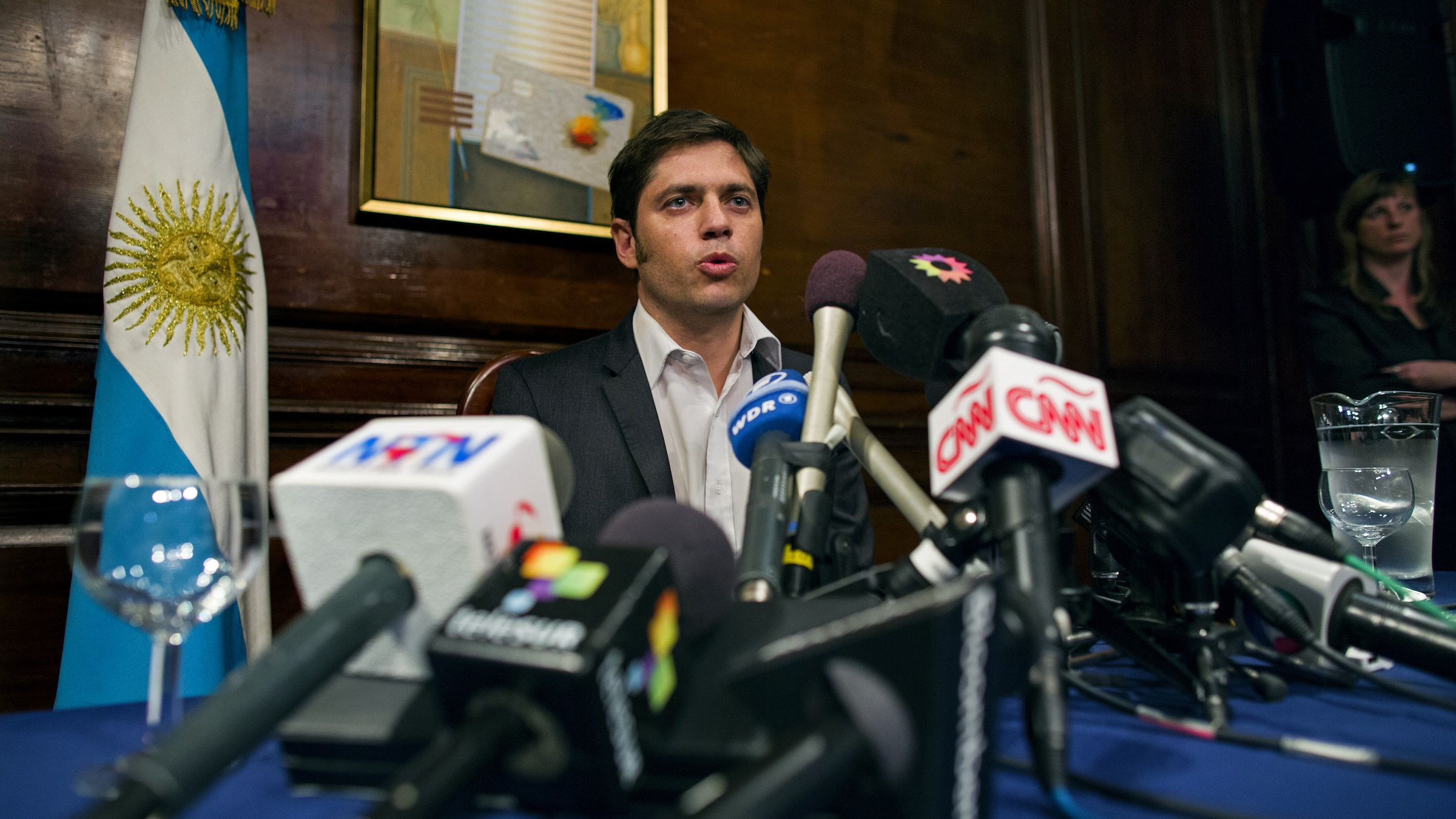 Axel Kicillof, Argentina's economy minister, addresses member of the news media after a negotiation session Wednesday July 30, 2014, in New York. Argentina officials and U.S. bondholders met for the first time in hopes of preventing an Argentine default. (AP Photo/Craig Ruttle)