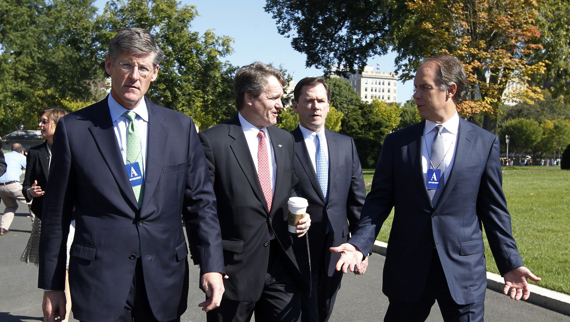 Bank CEOs arrive at the White House in Washington