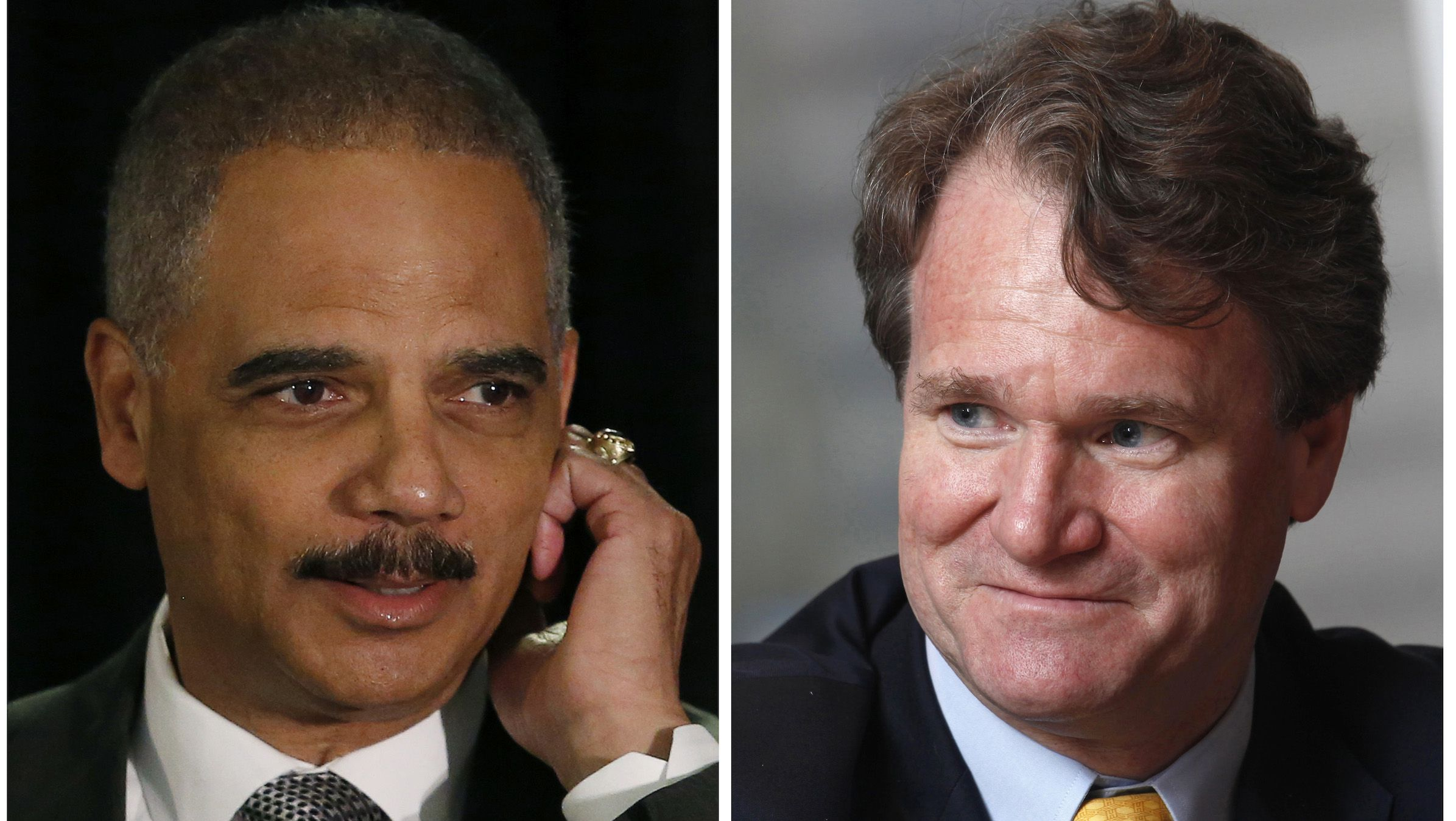 A combination of file photos shows U.S. Attorney General Eric Holder (L) in Washington on May 5, 2014 and Bank of America Chief Executive Brian Moynihan in Hong Kong on March 8, 2013 respectively. The second-largest U.S. bank's representatives have asked for Moynihan to meet with U.S. Attorney General Eric Holder, reported June 20, 2014, in an attempt to resolve differences in a possible multibillion-dollar settlement over shoddy mortgage securities the bank and its units sold, according to people familiar with negotiations.   REUTERS/Gary Cameron/Files (L) and REUTERS/Bobby Yip/Files   (UNITED STATES, CHINA - Tags: POLITICS LAW BUSINESS) - RTR3URZ9