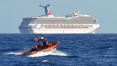 The U.S. Coast Guard patrols near the cruise ship Carnival Triumph in the Gulf of Mexico.