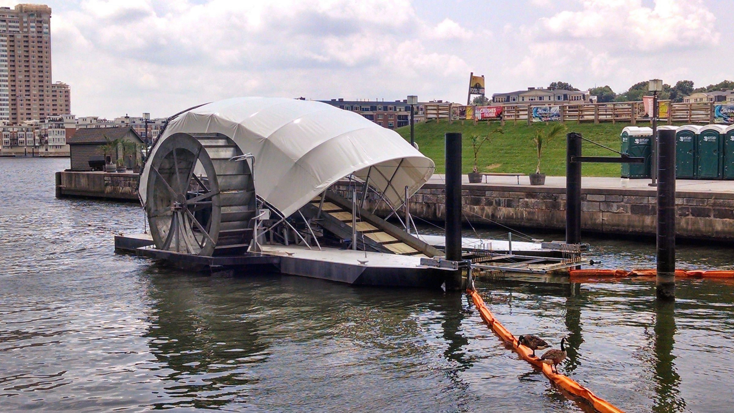 Baltimore's Inner Harbor water wheel