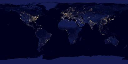 A satellite image of the world at night.