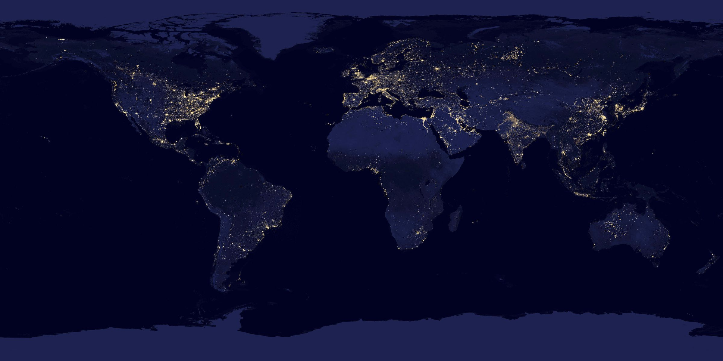 Lights across the earth are pictured in this NASA handout satellite image obtained by Reuters December 5, 2012. This new image of the Earth at night is a composite assembled from data acquired by the Suomi National Polar-orbiting Partnership (Suomi NPP) satellite over nine days in April 2012 and thirteen days in October 2012. It took 312 orbits and 2.5 terabytes of data to get a clear shot of every parcel of Earth's land surface and islands.