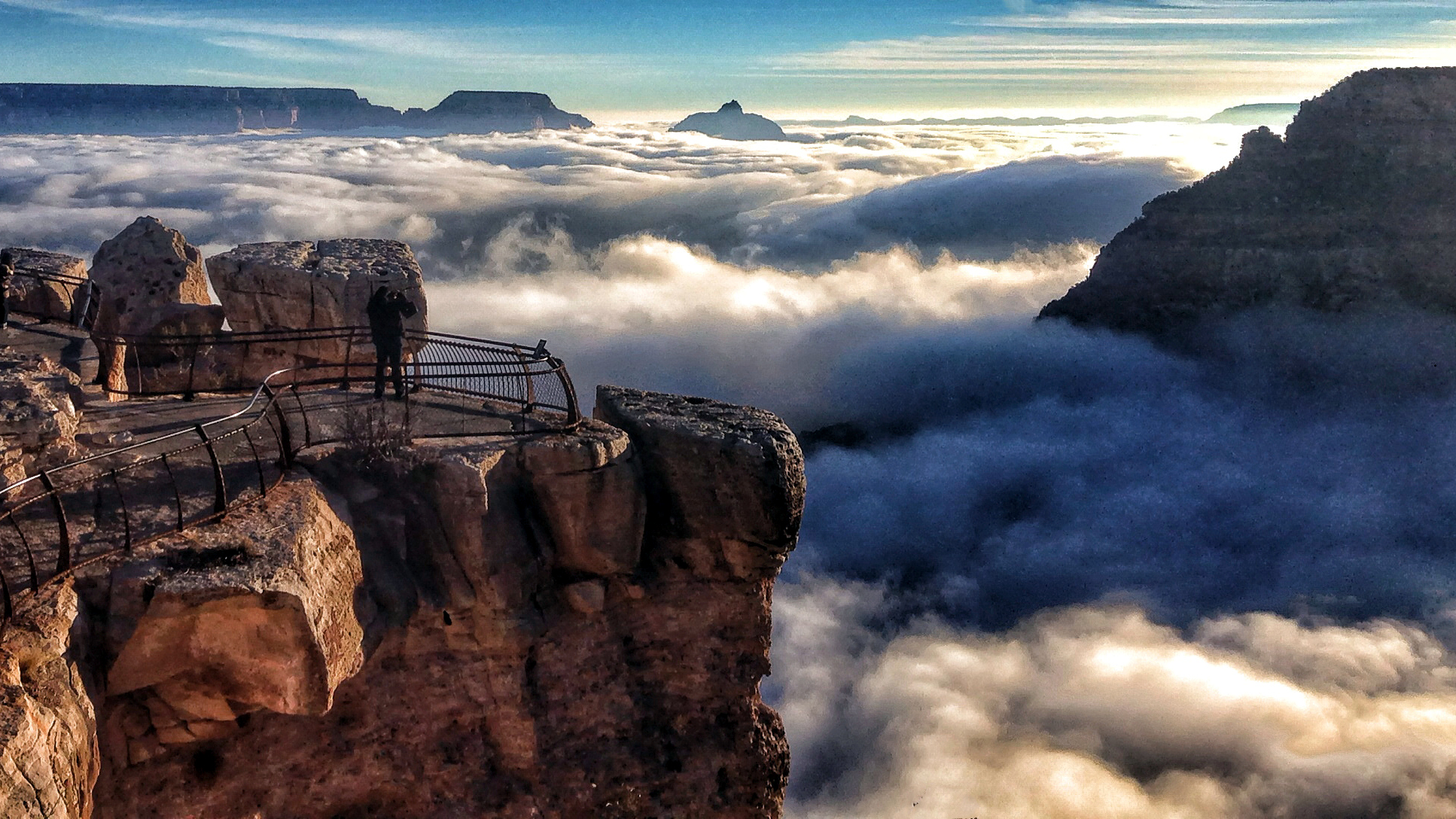 A rare total cloud inversion is pictured at Mather Point on the South Rim of the Grand Canyon National Park in Grand Canyon, Arizona November 29, 2013. Cloud inversions are formed through the interaction of warm and cold air masses. Picture taken November 29, 2013.