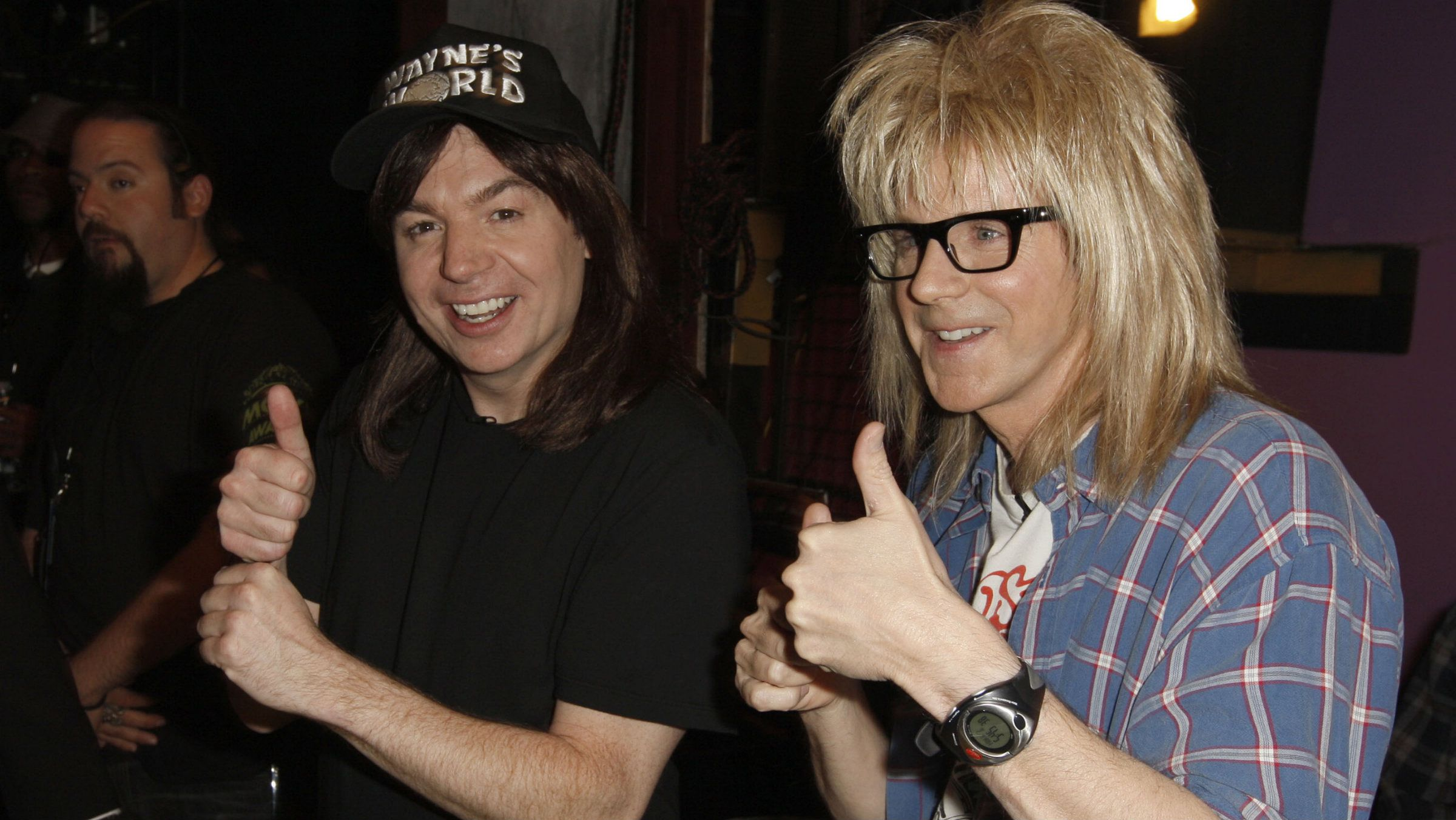 "Mike Myers, left, and Dana Carvey, of ""Wayne's World"""