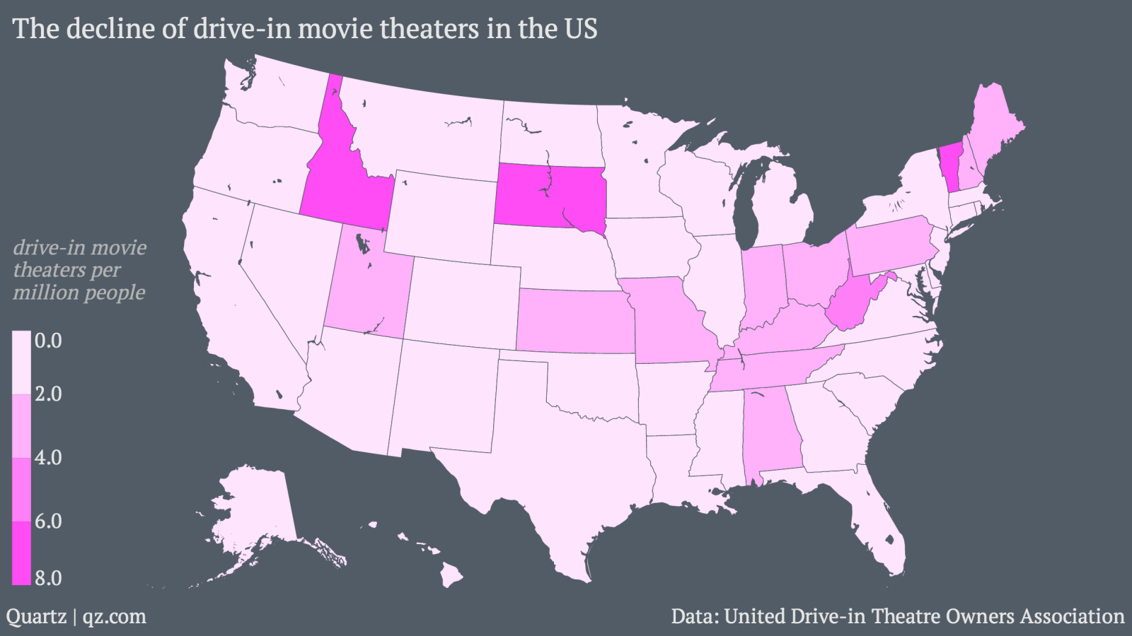 There Are Barely Any Drive In Movie Theaters Left In The Us Quartz