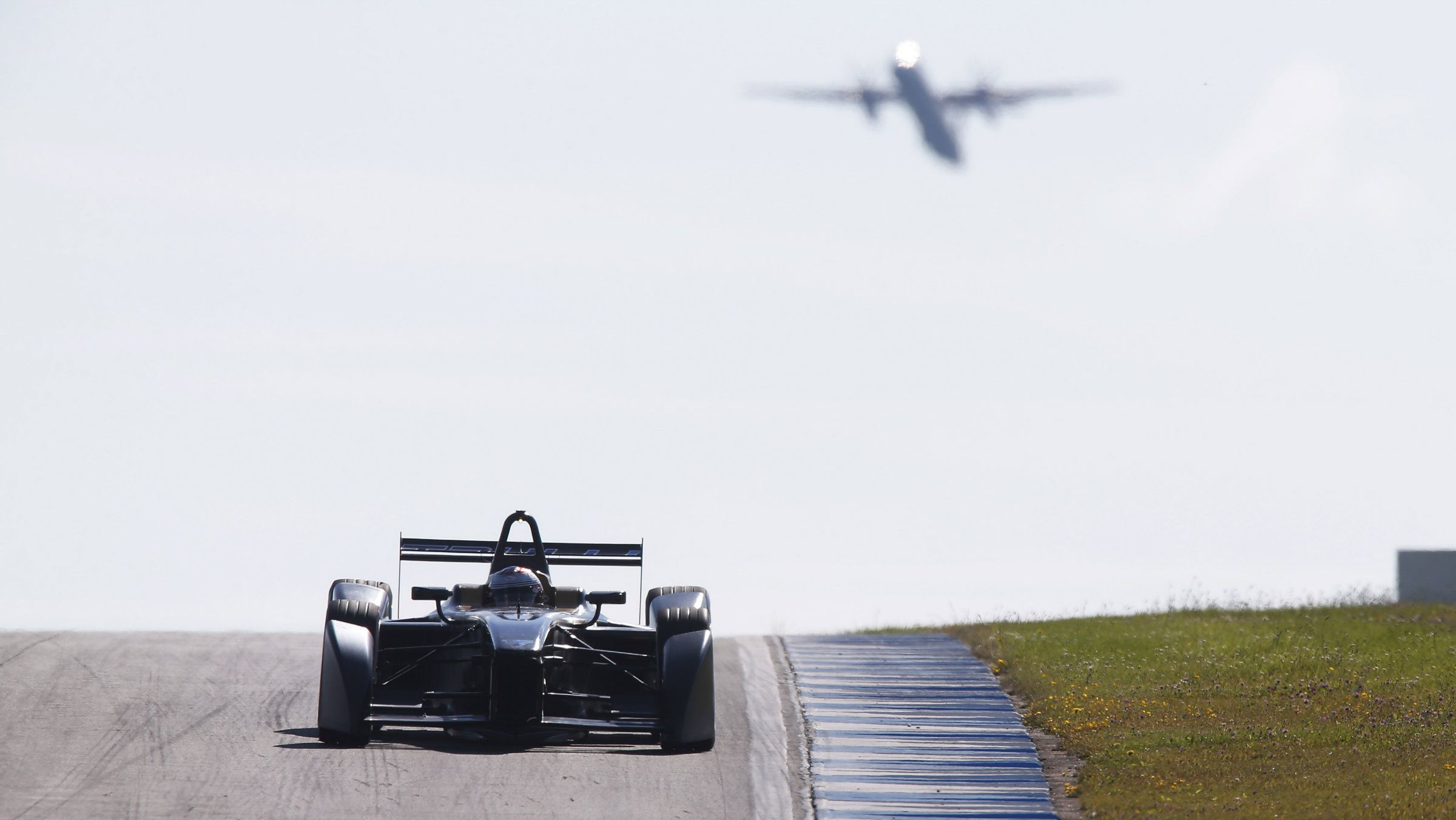A Formula E car on the Donington Park circuit in Britain.